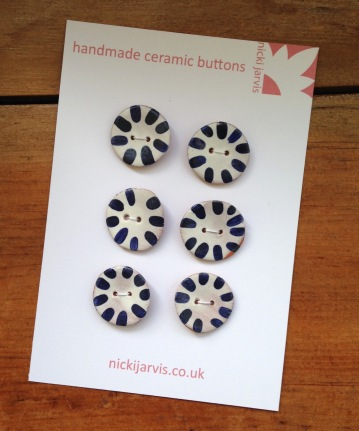Sun Stripe buttons - tin glazed terracotta earthenware with brushed cobalt decoration